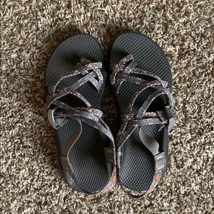 Grey and orange Chacos